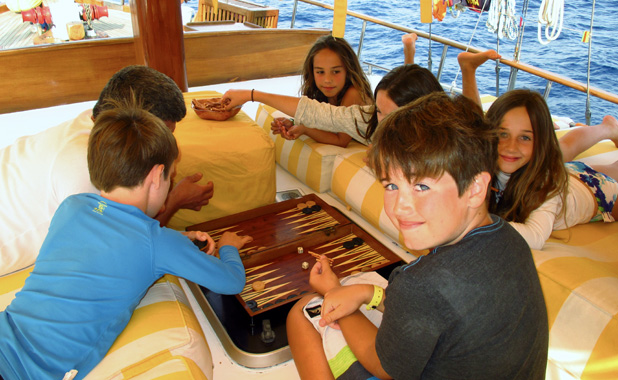 Gulets have a selection of board games on board for both kids and adult entertainment