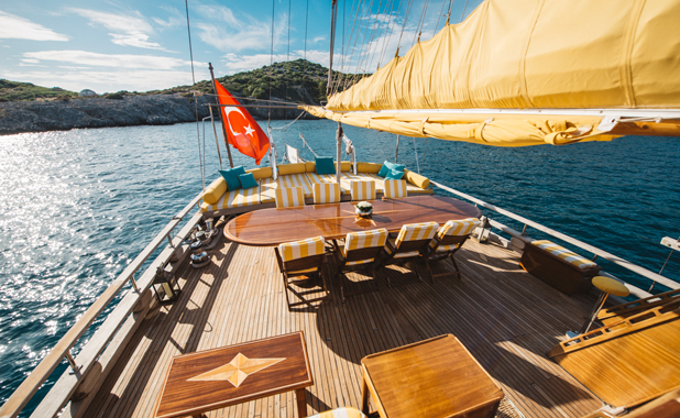 Large yacht for 14 guests for private sailing charter from Bodrum Turkey